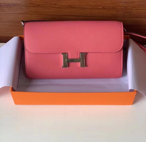 Hermes  Rose Confetti Constance Long To Go wallet Epsom Leather Palladium Hardware