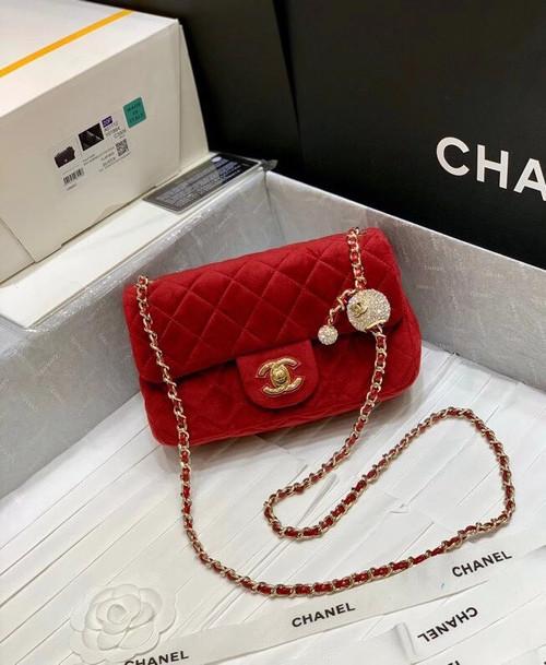 Chanel Velvet Flap Bag Red