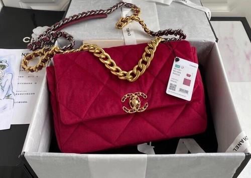 Chanel Velvet 19 flap bag Red