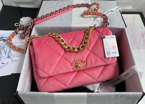 Chanel Velvet 19 flap bag Pink