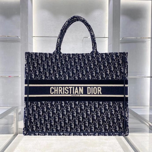 Christian Dior DIOR BOOK TOTE Blue Dior Oblique Embroidered Velvet