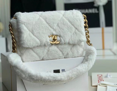 Chanel Shearling Lambskin Flap Bag White