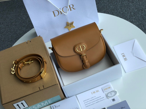 Christian Dior MEDIUM DIOR BOBBY BAG Dark Tan Box Calfskin