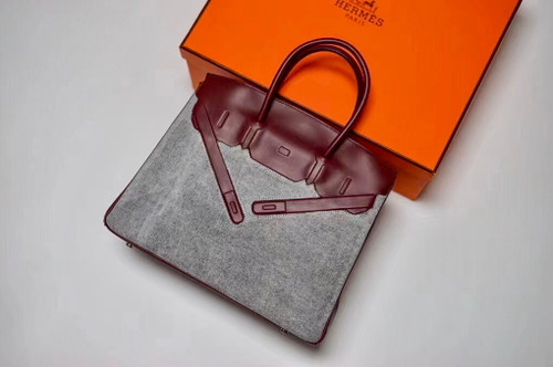 Hermes Shadow Birkin 30 Bordeaux Toile/ Box Leather  Palladium Hardware