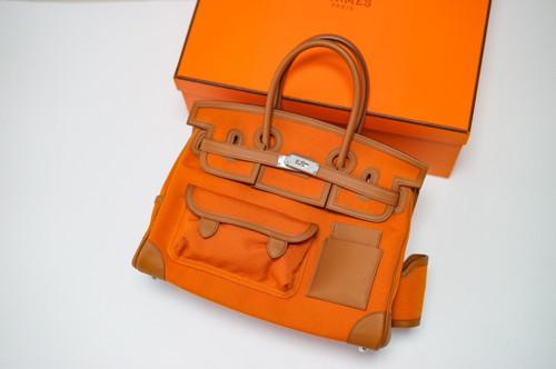 Hermes Limited Edition Cargo Birkin 35 cm Gold Swift and Orange canvas