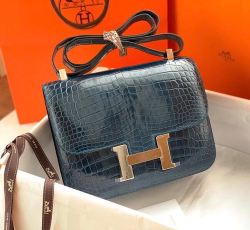 Hermes 1P Duck Blue Constance 18 Alligator with Palladium Hardware