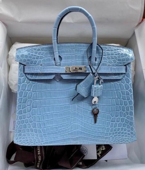 Hermes P3 Bleu Du Nord Birkin Bag 25cm Niloticus Crocodile Palladium Hardware