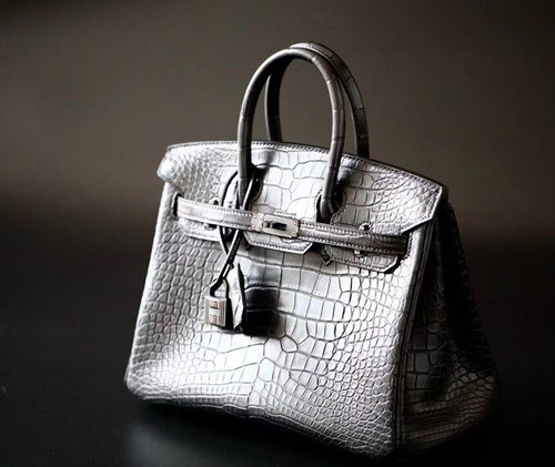HERMES SO-BLACK BIRKIN 25 Matt alligator crocodile skin, Black hardware