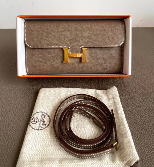 Hermes Etoupe Constance Long To Go wallet Epsom Leather Gold Hardware