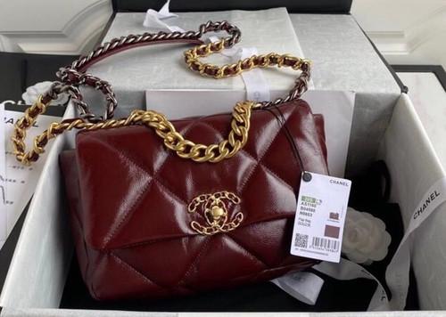 CHANEL 19 Flap Bag with Burgundy Shiny Crumpled Calfskin