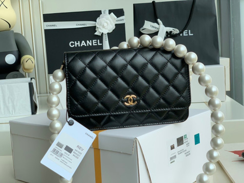 Chanel Clutch With Pearl Chain Black