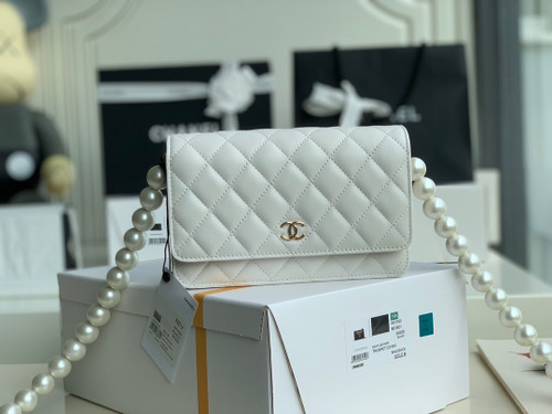 Chanel Clutch With Pearl Chain White