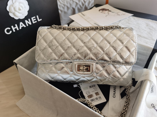 Chanel 2.55 Handbag Metallic Crumpled Calfskin Silver