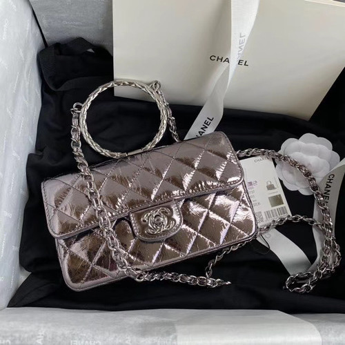 Chanel Limited Edition Metallic Crumpled Calfskin & Silver-Tone Metal Charcoal Flap Bag with Top Handle