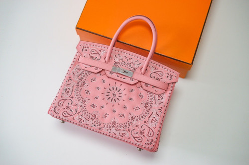 Hermes x Jay Ahr Special Edition custom-embroidering  Pink Birkin Bag 30cm Epsom Leather Palladium Hardware [Carry by Kylie Jenner, Cardi B]