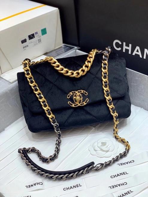 Chanel Limited Edition Velvet CHANEL 19 Flap Bag
