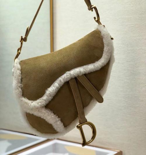 Christian Dior SADDLE BAG Camel-Colored Shearling