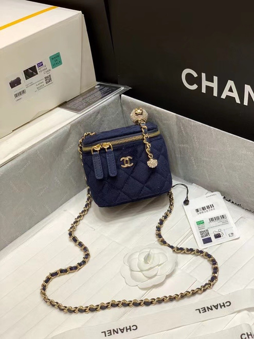 Chanel Small Vanity with Chain Navy Blue