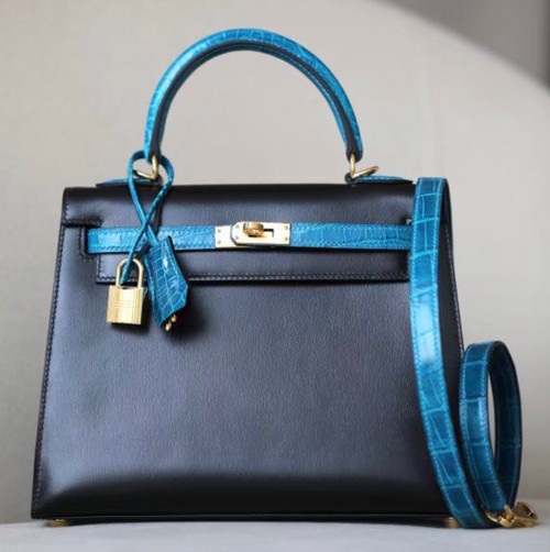 Hermes Special Order 7W Bleu Izmir/ Black Kelly 28 with Crocodile Niloticus and Box Leather