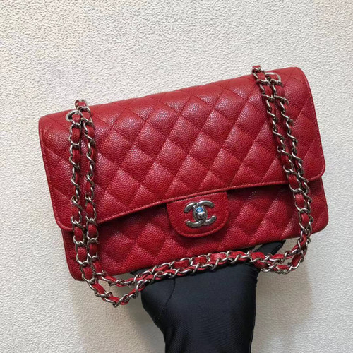 CHANEL Red Caviar Leather Classic Double Flap 2.55 Shoulder Bag Silver HW