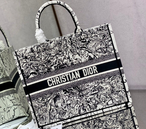 Christian Dior DIOR BOOK TOTE Latte Multicolor Dior Zodiac Embroidery