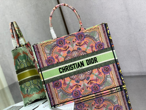 Christian Dior DIOR BOOK TOTE Multicolor Dior In Lights Embroidery
