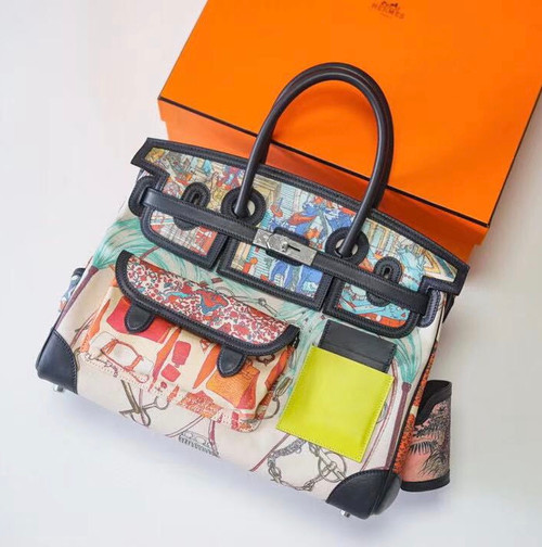 Hermes Limited Edition Cargo Birkin 35 cm Black  Swift and Multicoloured  canvas