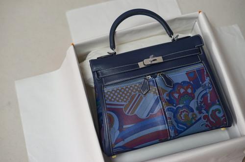 Hermès Kelly Lakis 32 Blue Swift  Palladium Hardware