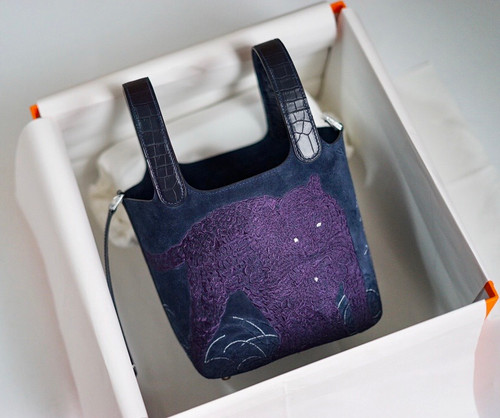 Hermes 2021 Limited Edition Embroidered Picotin lock 18 Touch Suede/ Alligator