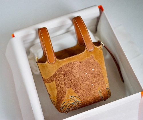 Hermes 2021 Limited Edition Embroidered Picotin lock 18 Touch Suede/ Swift Gold Hardware