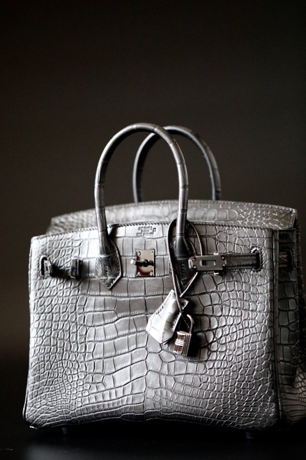 HERMES SO-BLACK BIRKIN 30 Alligator crocodile skin, Black hardware