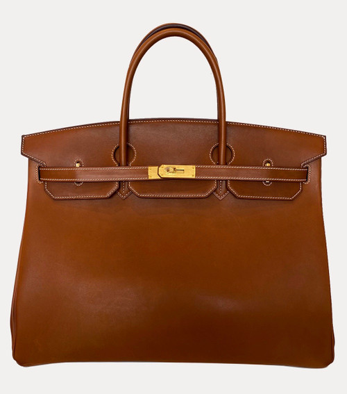 Hermes Birkin 40 Fauve Barenia Leather Gold Hardware
