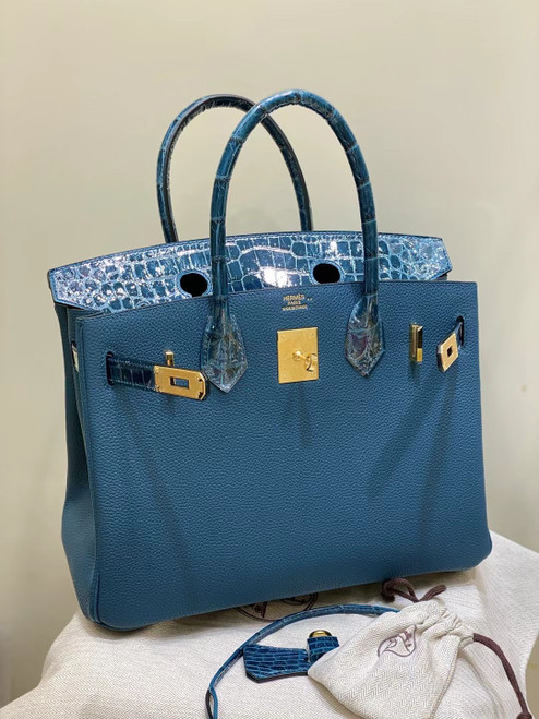 Hermes Birkin Touch 30  1P Colvert Shiny Niloticus Crocodile & Togo leather with Gold Hardware