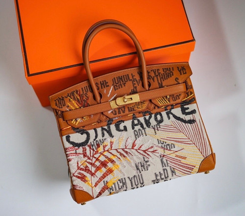 [Online Exclusive] Hermes Singapore Limited Edition Embroidered Birkin 30 Bag Gold