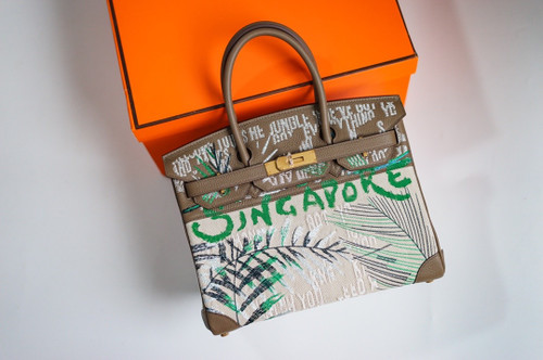 [Online Exclusive] Hermes Singapore Limited Edition Embroidered Birkin 30 Bag Etoupe