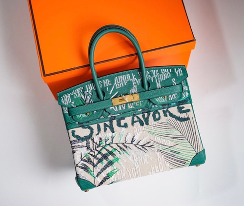 [Online Exclusive] Hermes Singapore Limited Edition Embroidered Birkin 30 Bag Green