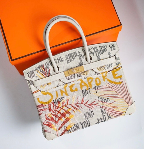[Online Exclusive] Hermes Singapore Limited Edition Embroidered Birkin 30 Bag Craie
