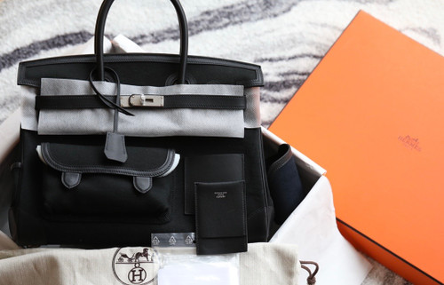 Hermes Limited Edition Cargo Birkin 35 cm Black Swift and canvas