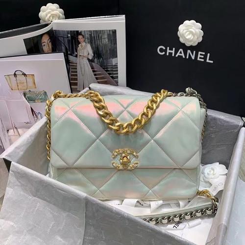 CHANEL 19 Iridescent White Large Flap Bag