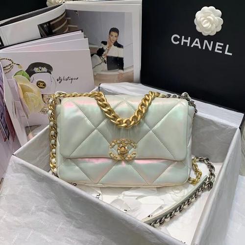 CHANEL 19 Iridescent White Flap Bag