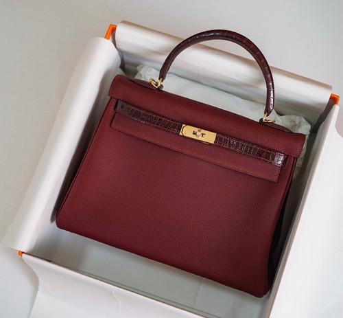 Hermes Bordeaux Kelly Touch bag 32 Retourne Togo/ Niloticus Crocodile
