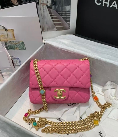 Chanel Flap Bag with Resin & Gold-Tone Metal Pink Mini
