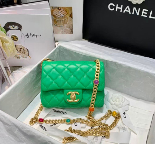 Chanel Flap Bag with Resin & Gold-Tone Metal Green Mini