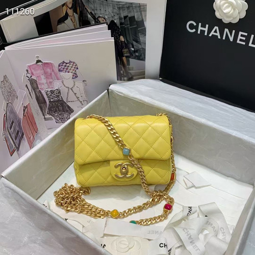 Chanel Flap Bag with Resin & Gold-Tone Metal Yellow Mini