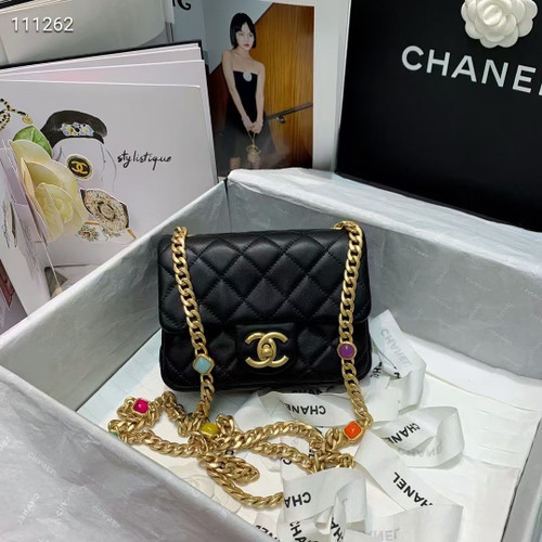 Chanel Flap Bag with Resin & Gold-Tone Metal Black Mini