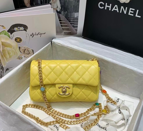 Chanel Flap Bag with  Resin & Gold-Tone Metal Yellow Small