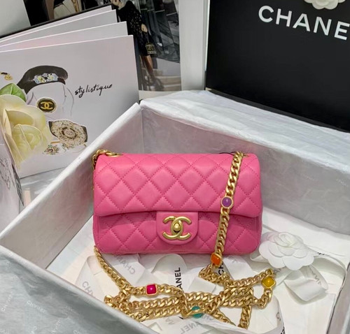 Chanel Flap Bag with  Resin & Gold-Tone Metal Pink Small