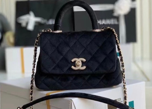 Chanel Mini Velvet Flap Bag with Top Handle and Diamond hardware
