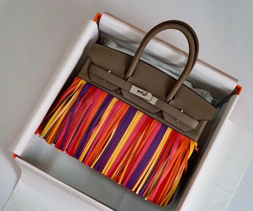 Hermes Birkin 30 Bag HSS Etoupe Multi Colour Fringe Limited Edition