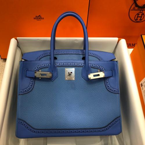 Hermes Limited Edition 2T Blue Paradise Ghillie Birkin 30cm Togo Gold Hardware
